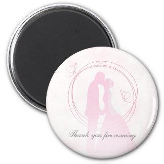 Romantische träumerische rosa Hochzeits-Paare Runder Magnet 5,7 Cm