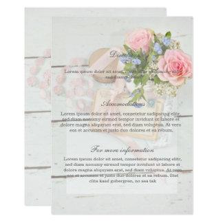 Romantische Vintage Frühlings-Blumen-Hochzeit Karte