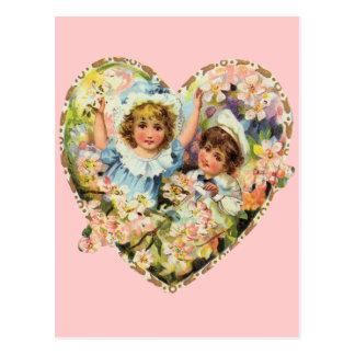 Romantische Vintage Valentines Postkarte