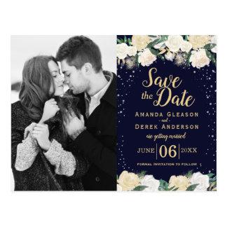 Romantische Winter-Save the Date Foto-Postkarte Postkarte