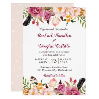 Romantischer Frühling Boho Blumenfeder-Hochzeit Karte