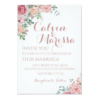 Romantisches elegantes Aquarell-rosa mit 12,7 X 17,8 Cm Einladungskarte