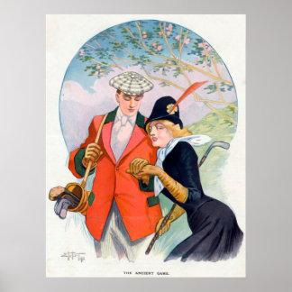 Romantisches Golf-Paar-Plakat Poster