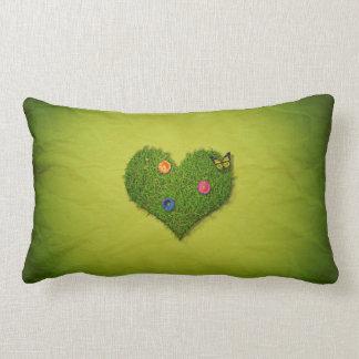Romantisches Gras-Herz - Kissen