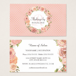 Romantisches rosa Gold punktiert Visitenkarte