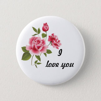 Romantisches rosa Rosen-Button Runder Button 5,1 Cm