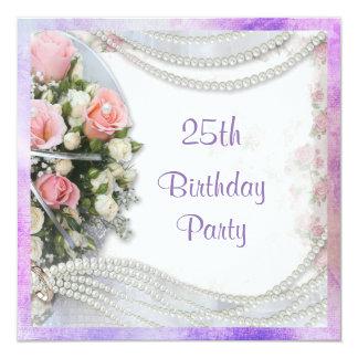 Romantisches Rosen-u. Perlen-25. Geburtstags-Party Quadratische 13,3 Cm Einladungskarte