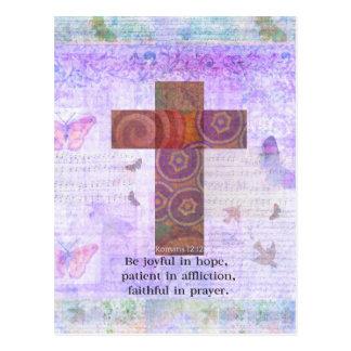 Römer-12:12 - seien Sie in der Hoffnung, geduldige Postkarte