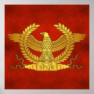 Römisches goldenes Eagle auf altem Rot Poster