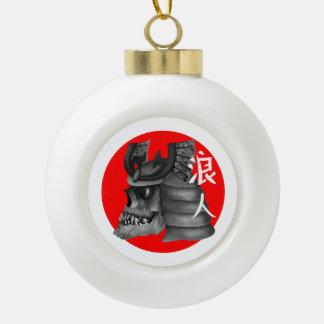 Ronin Samurai-Schädel Keramik Kugel-Ornament