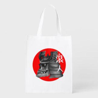 Ronin Samurai-Schädel Wiederverwendbare Einkaufstasche