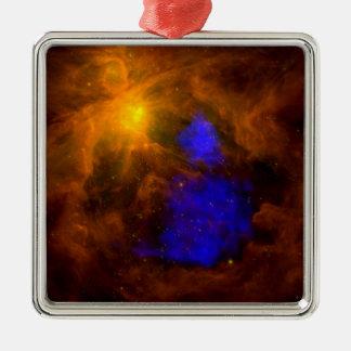 Röntgenstrahl Weihnachtsmann in Orion Quadratisches Silberfarbenes Ornament