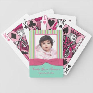Rosa Aqua-gelbes Grün-gestreiftes Foto-Spielkarten Poker Karten