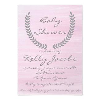 Rosa Aquarell-Babyparty-Einladung Karte