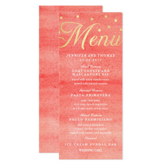 Rosa Aquarell-Beschaffenheits-Hochzeits-Menü-Karte 10,2 X 23,5 Cm Einladungskarte