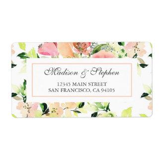 Rosa Aquarell-Blüten-Muster - Hochzeit Versand Aufkleber