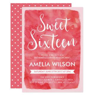 Rosa Aquarell-Bonbon 16 Geburtstags-Einladung 12,7 X 17,8 Cm Einladungskarte