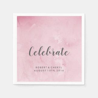 Rosa Aquarell feiern Hochzeits-Servietten Papierserviette