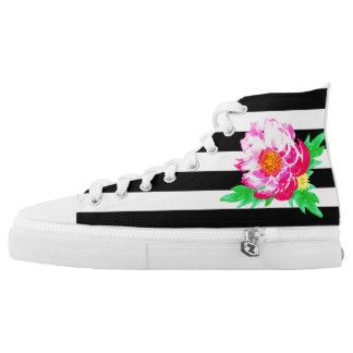 Rosa Aquarell-Pfingstrose auf Black&White Schuhen Hoch-geschnittene Sneaker