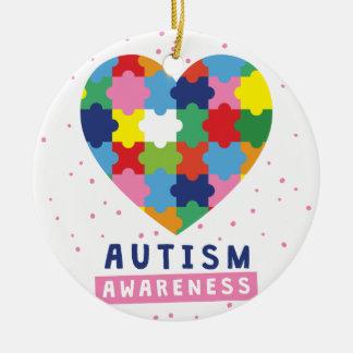 rosa Autismusbewusstsein Keramik Ornament