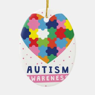 rosa Autismusbewusstsein Ovales Keramik Ornament