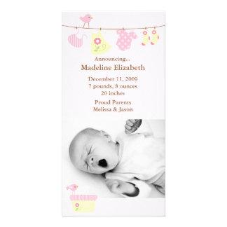 Rosa Baby-Wäscherei-Geburts-Mitteilung Fotokartenvorlage