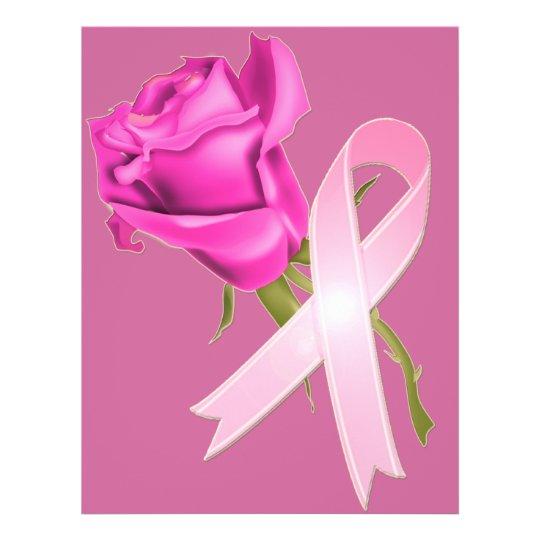 Rosa Band mit Rose *Breast Krebs-Bewusstsein * 21,6 X 27,9 Cm Flyer