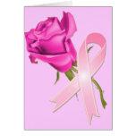 Rosa Band mit Rose *Breast Krebs-Bewusstsein * Grußkarte