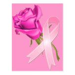 Rosa Band mit Rose *Breast Krebs-Bewusstsein * Postkarten