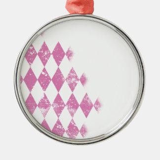 Rosa beunruhigte Rauten-Diamant-Druck Rundes Silberfarbenes Ornament