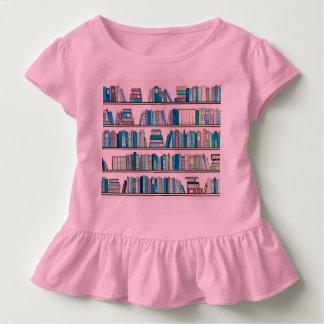 Rosa Bibliotheks-Rüsche-T-Stück Kleinkind T-shirt