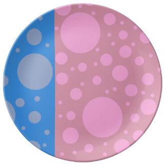 Rosa Blau punktiert 27,3 cm dekorative das Teller