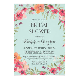 Rosa blaue Vintage Blumen-Brautparty-Einladung 12,7 X 17,8 Cm Einladungskarte