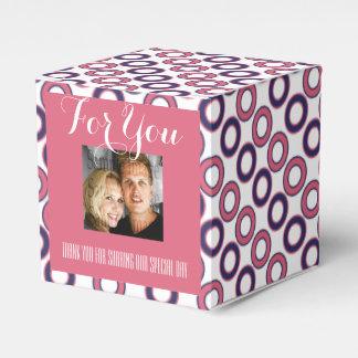 Rosa blauer Hochzeits-Tupfen Geschenkschachtel
