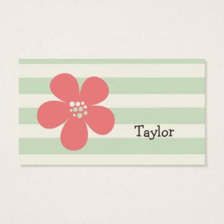 Rosa Blume auf grünen Pastellstreifen Visitenkarten