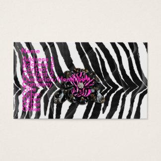 Rosa Blume auf Zebra Visitenkarten