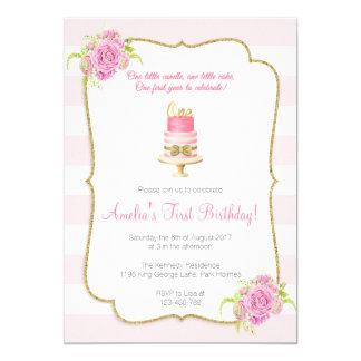 Rosa Blumen1. Geburtstags-erste Einladung