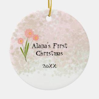 Rosa Blumen-Baby-erstes Weihnachten Keramik Ornament