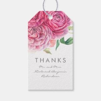 Rosa Blumen elegant und romantische Watercolors Geschenkanhänger