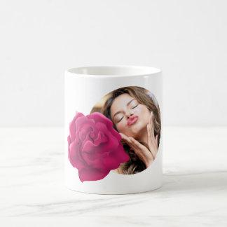 Rosa Blumen-Foto-Tasse Tasse