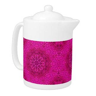Rosa Blumen-Kaleidoskop-Muster-   Teekannen