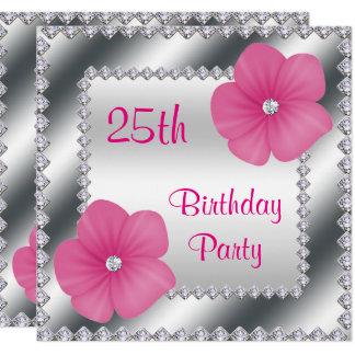 Rosa Blumen u. Diamant-25. Geburtstag Quadratische 13,3 Cm Einladungskarte