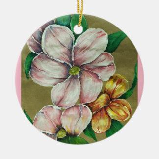 """Rosa Blumen-"" Verzierung Keramik Ornament"