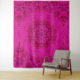 Rosa Blumen-Vintage Kaleidoskop-Wand-Tapisserie Wandteppich