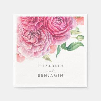 Rosa BlumenAquarell-botanische elegante Hochzeit Servietten
