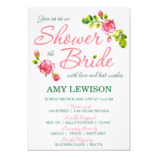 Rosa BlumenBrautparty-Entwurf 12,7 X 17,8 Cm Einladungskarte