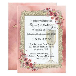 Rosa BlumenBrunch und sprudelnder Polterabend 12,7 X 17,8 Cm Einladungskarte