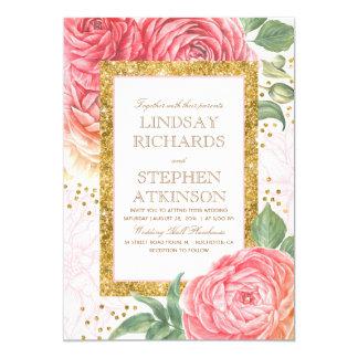 Rosa Blumengoldconfetti-Aquarell-Hochzeit 12,7 X 17,8 Cm Einladungskarte