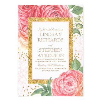 Rosa Blumengoldconfetti-Aquarell-Hochzeit Karte