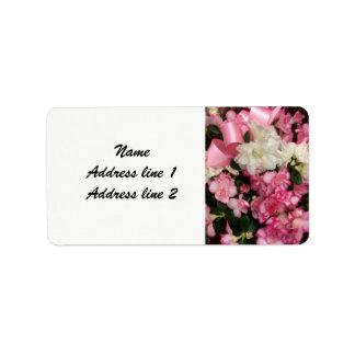 Rosa Blumenhochzeits-Adressen-Etiketten Adressetikett